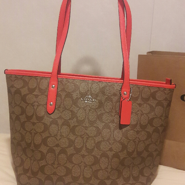 Authentic Coach Bag Orange And Pink