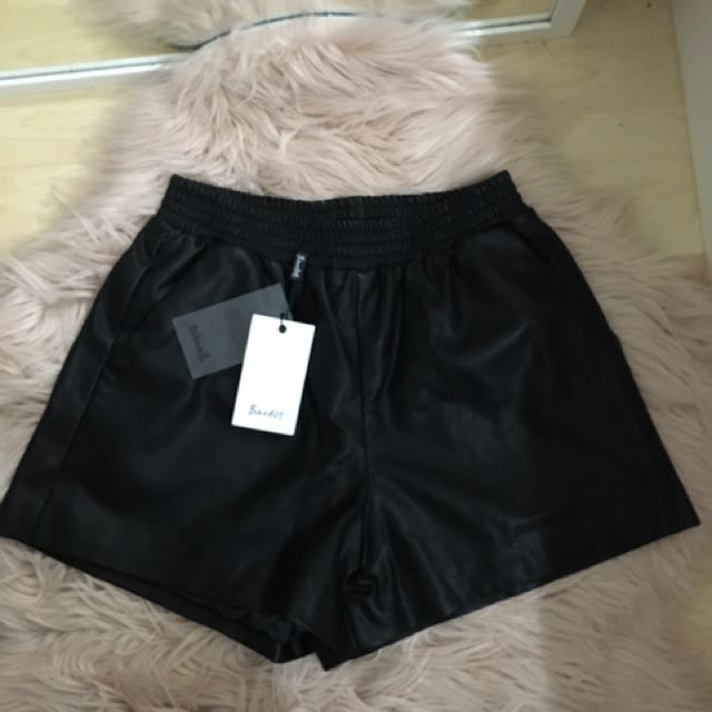 Bardot Leather High Waisted Shorts