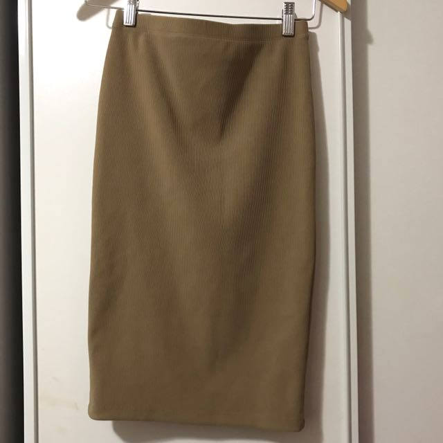 Beige Ribbed Bodycon Skirt