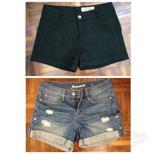 Black & Denim True Faded Blue Cuff Cutoff Distressed Cool Trendy Trending Korean Jean Shorts