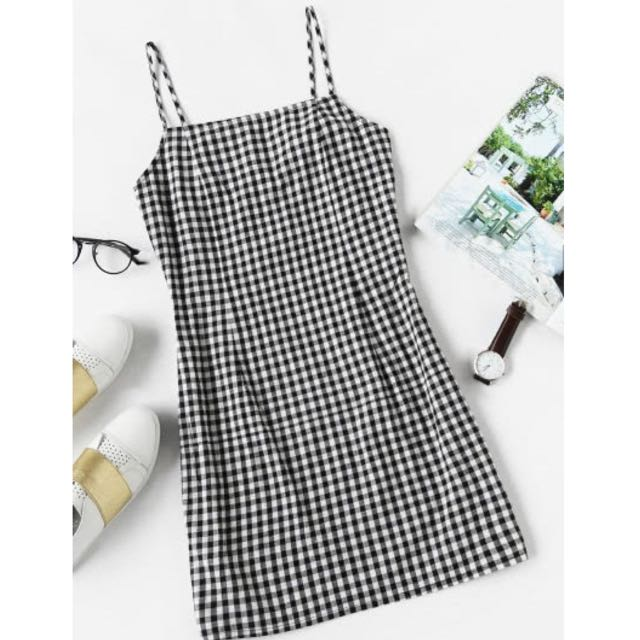Black And White Gingham Cami Dress