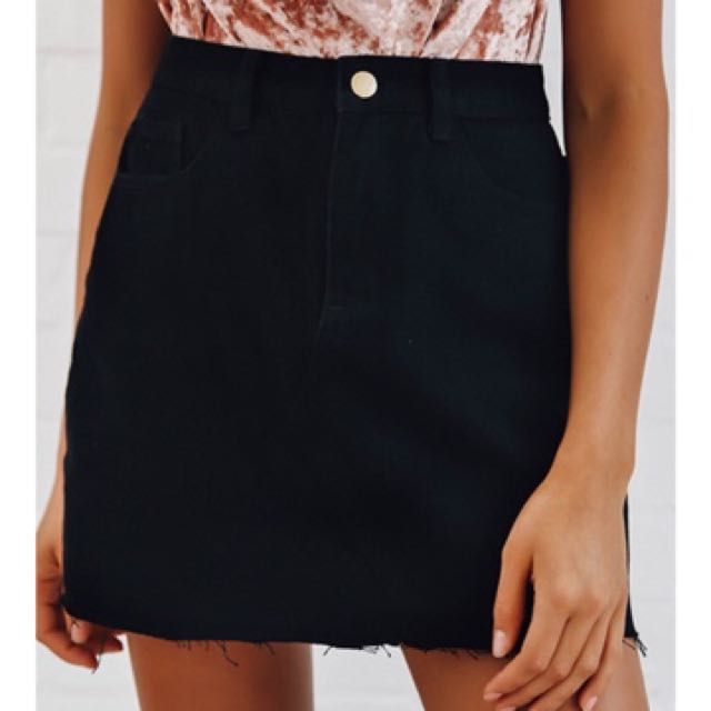 Black Denim Peppermayo Skirt
