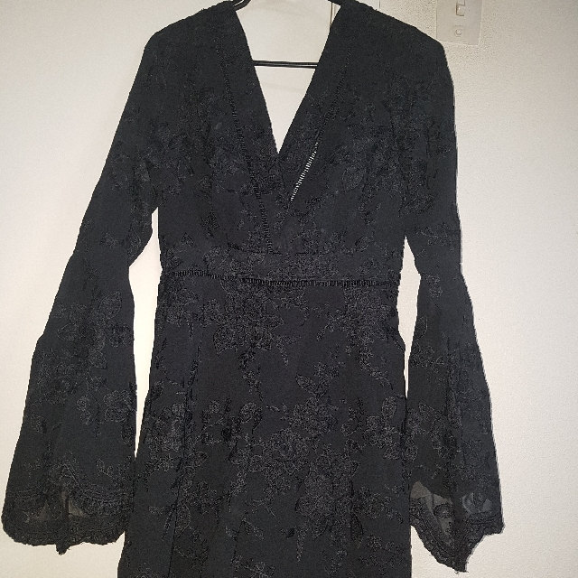 Black Embroidered One Piece