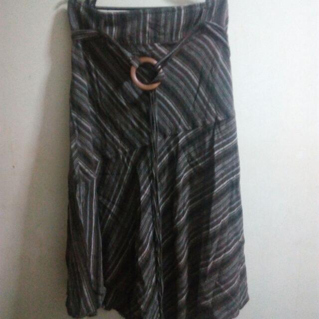 Boho Brown Long Skirt with Belt