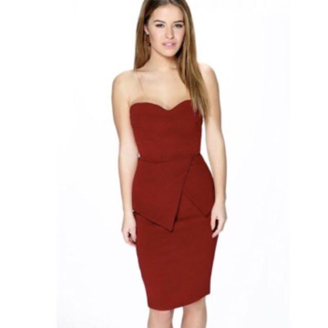 Boohoo Clara Peplum Sweetheart Dress