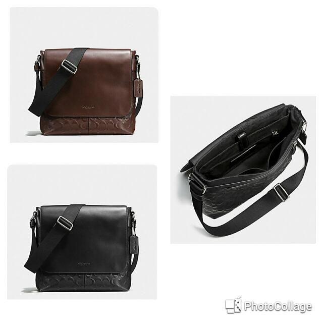 CHARLES SMALL MESSENGER IN SIGNATURE CROSSGRAIN LEATHER COACH F72220 ... c84cce22b8