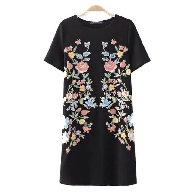 Embroidered Black Dress