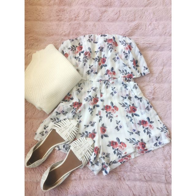Floral Playsuit With Pockets
