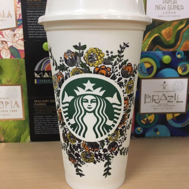 Flower Design Starbucks Reusable Cup
