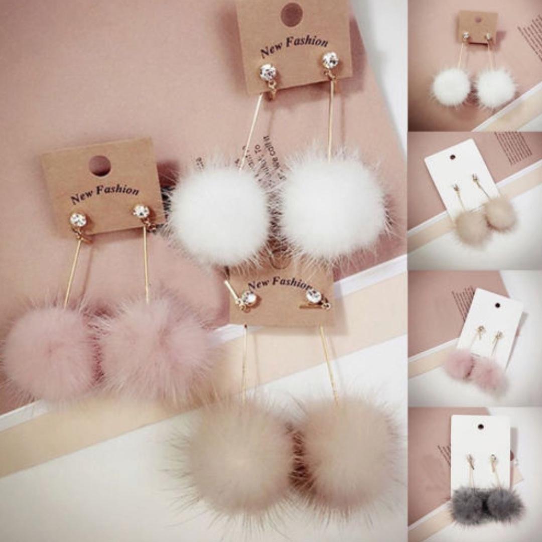 Fluffy Pom Pom Earrings