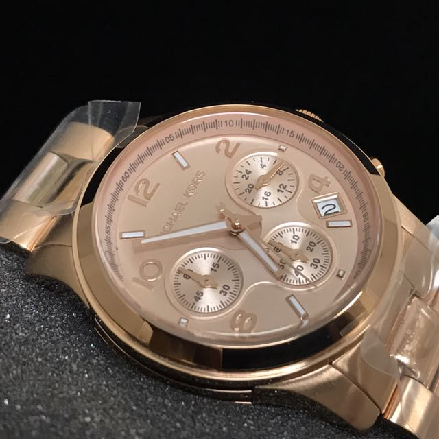 0f9c64d8b2e7 FREE DELIVERY  MICHAEL KORS RUNWAY CHRONOGRAPH LADIES ROSE GOLD ...