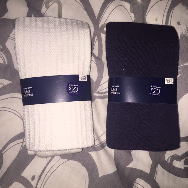 GapKids White & Navy Blue Stockings/Tights