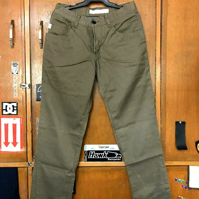 Guess Straight Cut Pants Olive