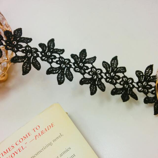 Handmade Black Floral Lace