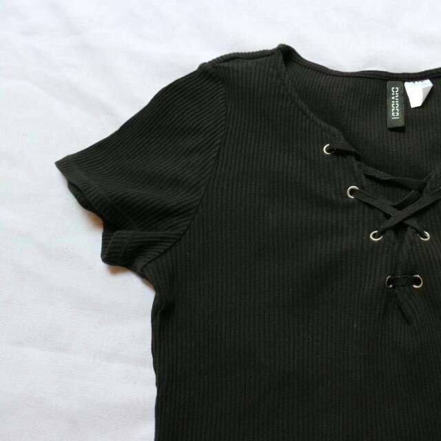 HnM Black Tied Top