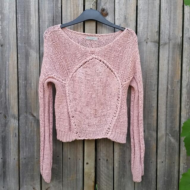 Hunkydory Stockholm dusty pink crochet jumper