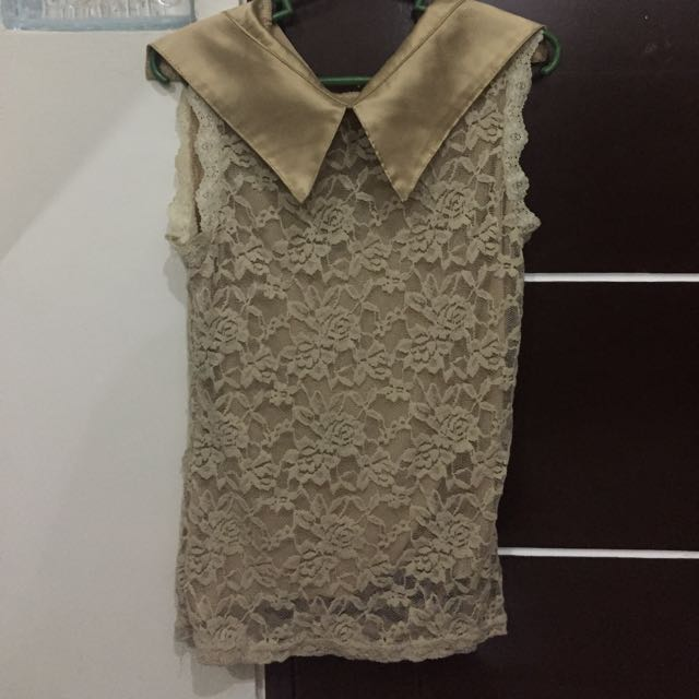 Lacy Beige Sleeveless Top