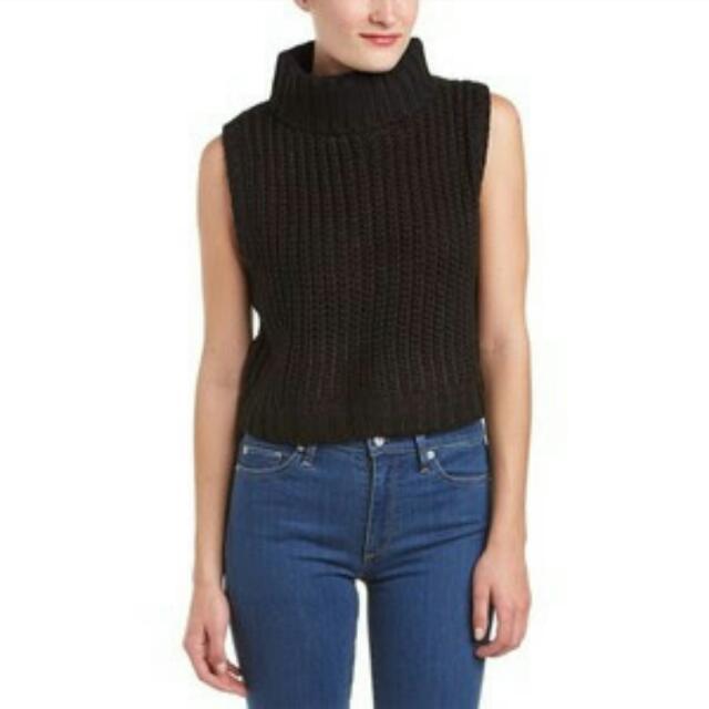 Mink Pink Turtleneck Knit Crop Top Black