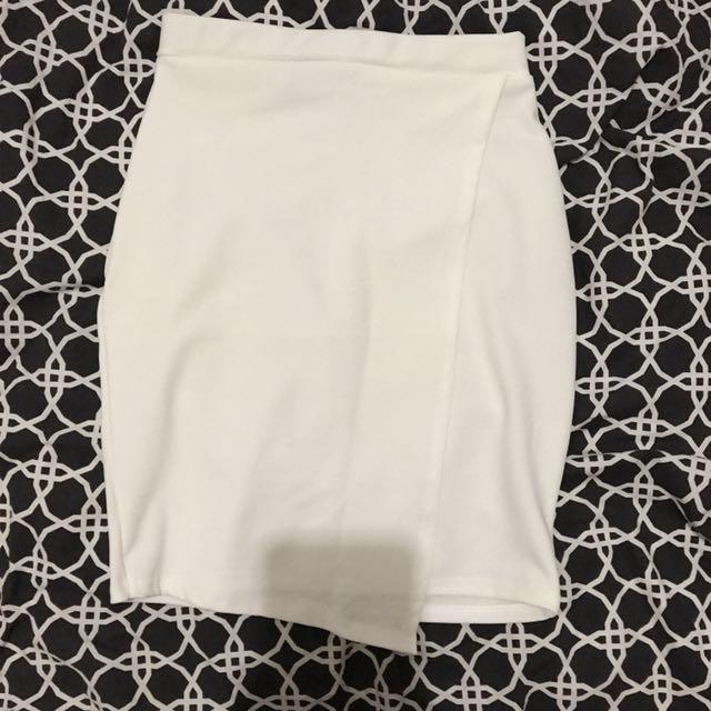 Missguided Asymmetric White Skirt