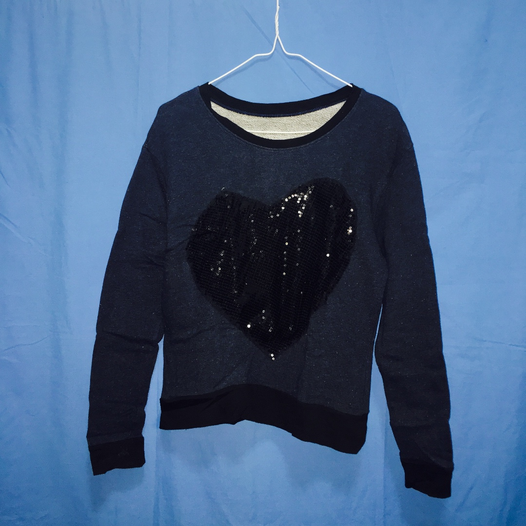 Navy Blue Sequined-heart Sweater