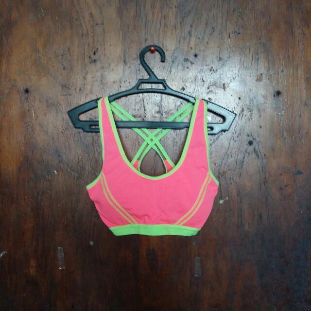 Neon Pink Sports Bra Active Wear
