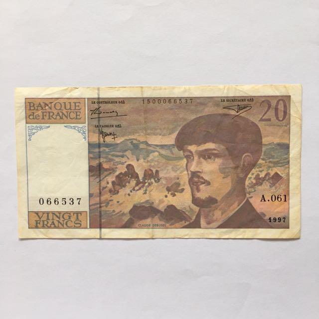 Old 20 France Francs Note