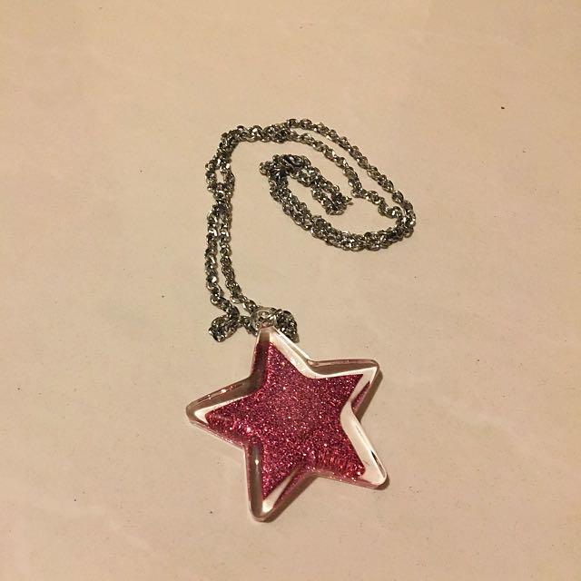 Pink Glitter Star Necklace