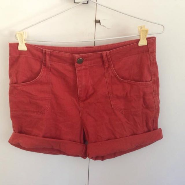 Red Denim-look Shorts