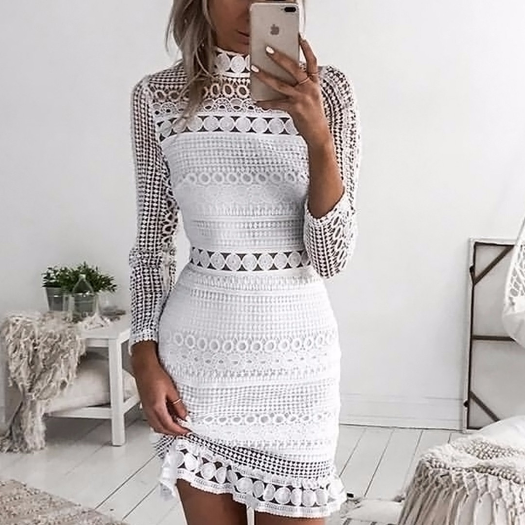 ROSAL White Silhouetted Lace Dress