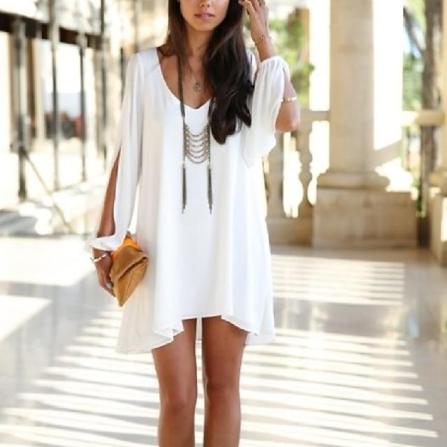 Sheer Slit Sleeve Dress