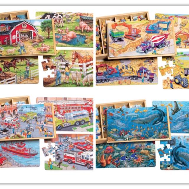 出清特價-美國Shure木製木盒拼圖 96片大盒