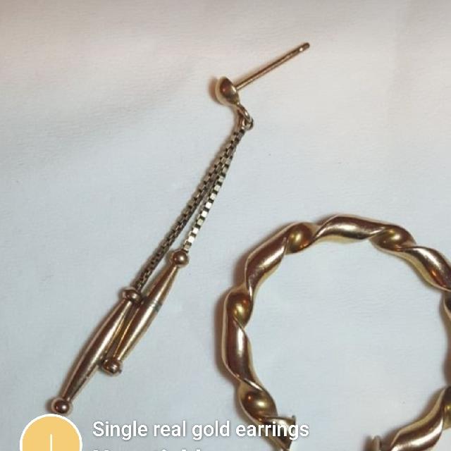 Single Real Gold Earrings