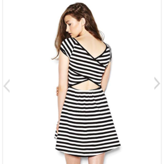 Striped Cross Back Dress