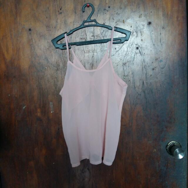 Trendy See Through Pastel Pink Top