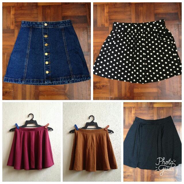 Variety Circle Flowy Denim Skater Korean Skirt