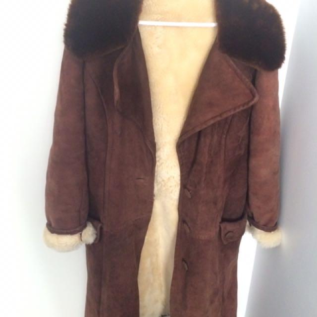 Vintage Sheep Skin Brown Coat
