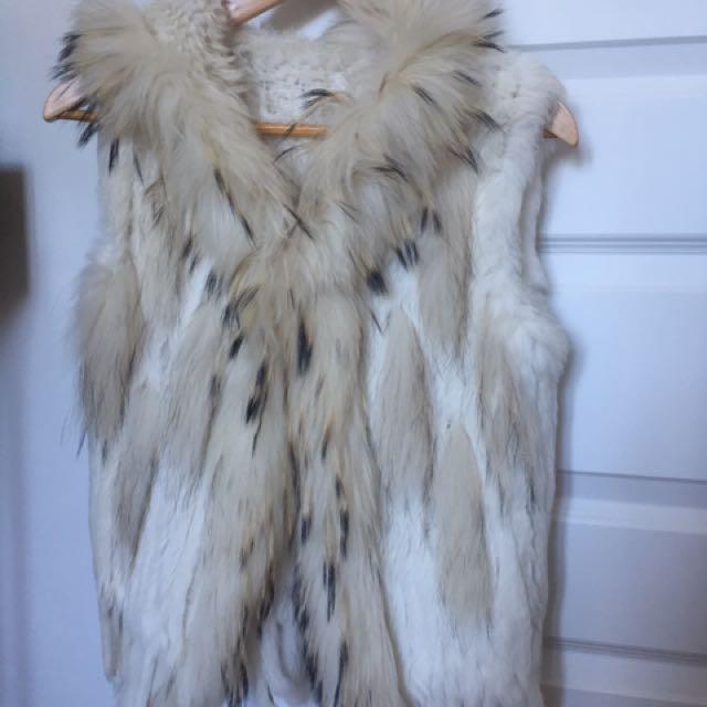 White Fur Hooded Vest