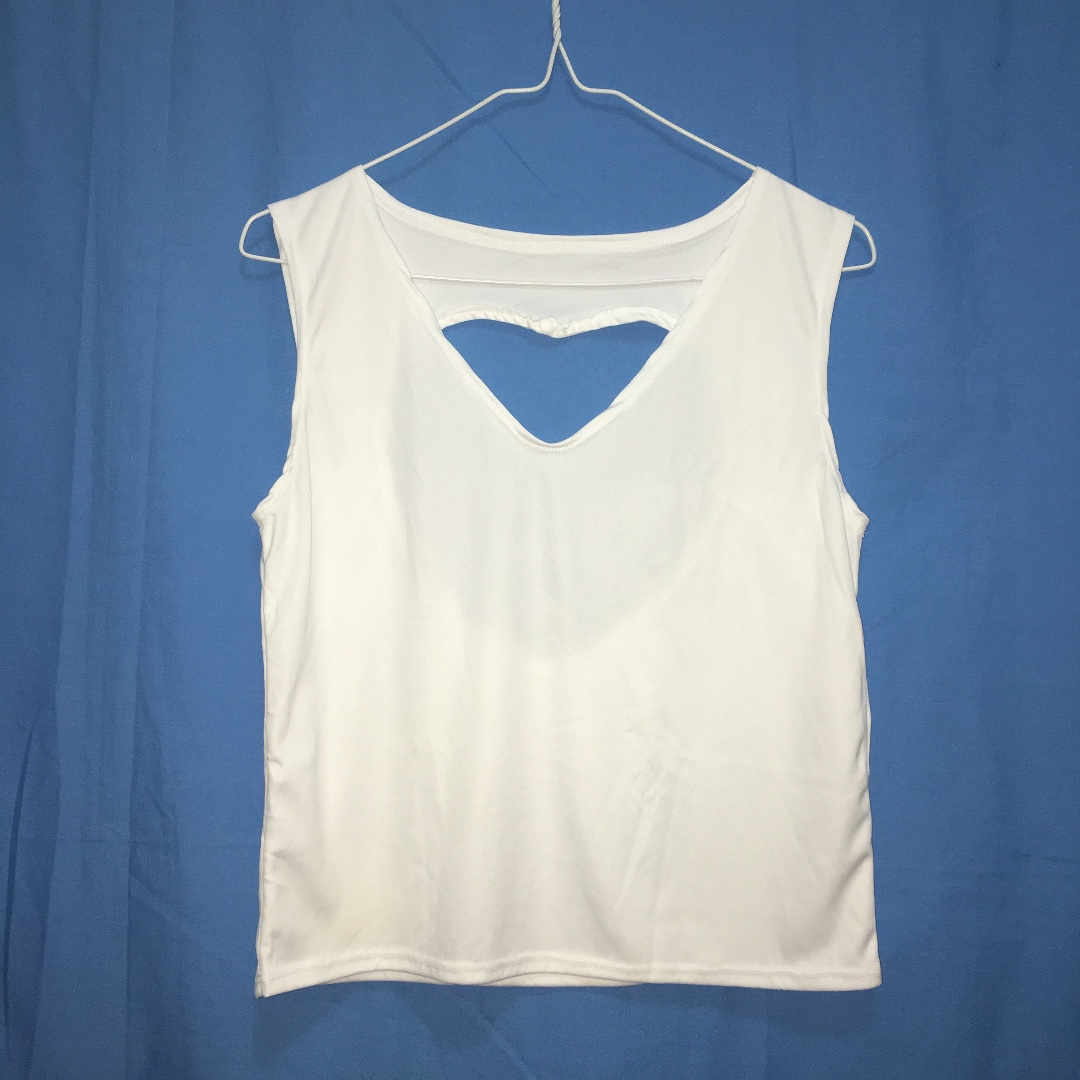 White Heart-back Tank Top