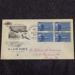 US 1957 Air Force 50th Anniv Blk4 FDC Stamp