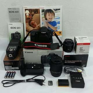 CANON EOS 60D with SIGMA 18-125mm DC OS HSM Lens + CANON EF 50mm Lens + Yongnuo Speedlite + Meike 60D Battery Grip & UV Filter