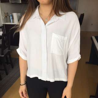 Topshop Cropped Dress Shirt