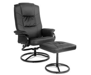 PU Leather Recliner Chair and Footrest