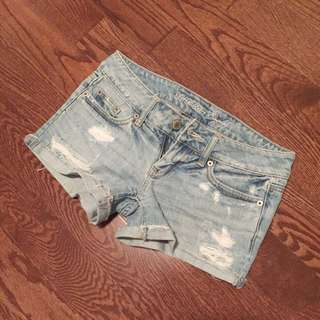 American Eagle Light Wash Ripped Denim Shorts