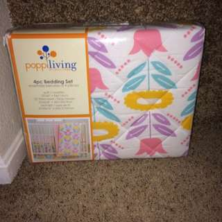 Poppi Living 4 Piece Infant Crib Bedding Set, Flower