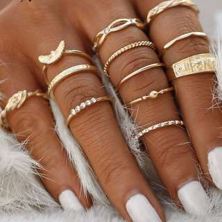 Gold Charm 12pc Ring Set