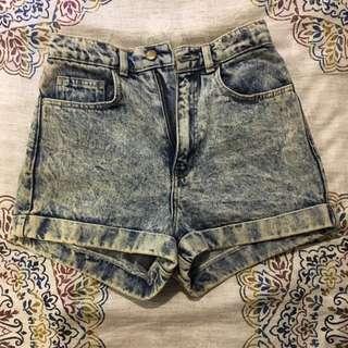 High-waisted Acid Wash American Apparel Jean Shorts