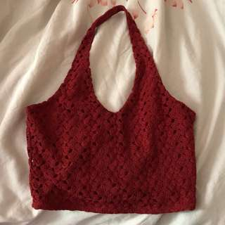 Red Cropped Halter