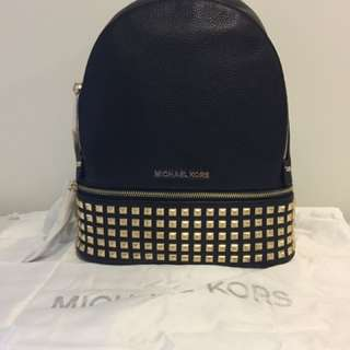 NWT Authentic Michael Kors Rhea Small Studded Leather Backpack