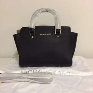 NWT Authentic Michael Kors Medium Saffiano leather Selma Satchel - Black