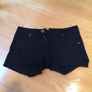 New Black Distressed Ripped Shorts